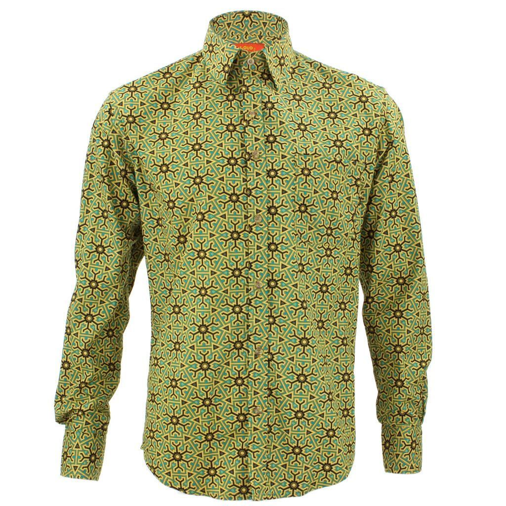 Mens Loud Shirt Retro Psychedelic Funky Party TAILORED FIT Abstract Aztec