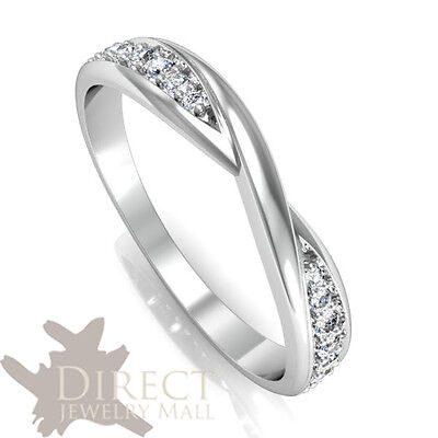 3mm 9ct Real White GOLD 0.175ct Look Created DIAMOND Kiss Wedding Ring Full Size