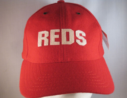 CINCINNATI REDS LICENSED MLB BASEBALL HAT RED UNSTRUCTURED WOOL BLEND THROWBACK