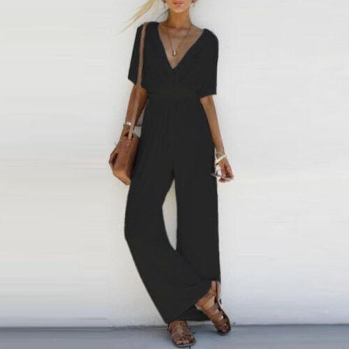 UK Summer Women V Neck Loose Playsuit Party Romper Short Sleeve Longsuit