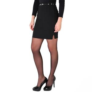 Womens-Belted-Fitted-Stretch-Pencil-Short-Mini-Skirt-Formal-Business-Evening