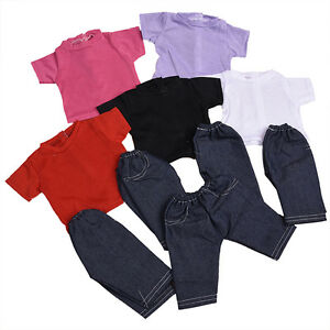 Handmade-Fashion-Doll-T-shirt-Pant-Clothes-Suit-for-18-inch-Doll-Children
