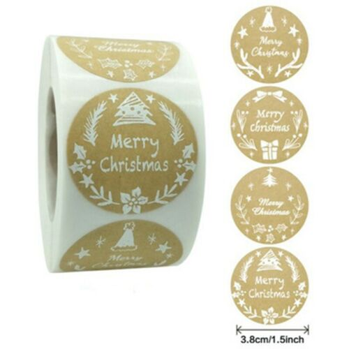 500Pcs Merry Christmas Thank You Stickers Kraft Gift Seal Labels Scrapbooking