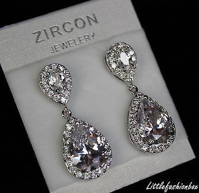 Shiny Teardrop CZ Cubic Zirconia Cluster Classic Wedding Bridal Earring UK New