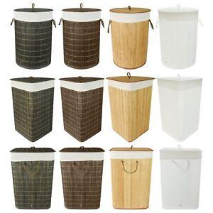 Image Is Loading Folding Bamboo Laundry Hamper Basket Storage Bin Dirty