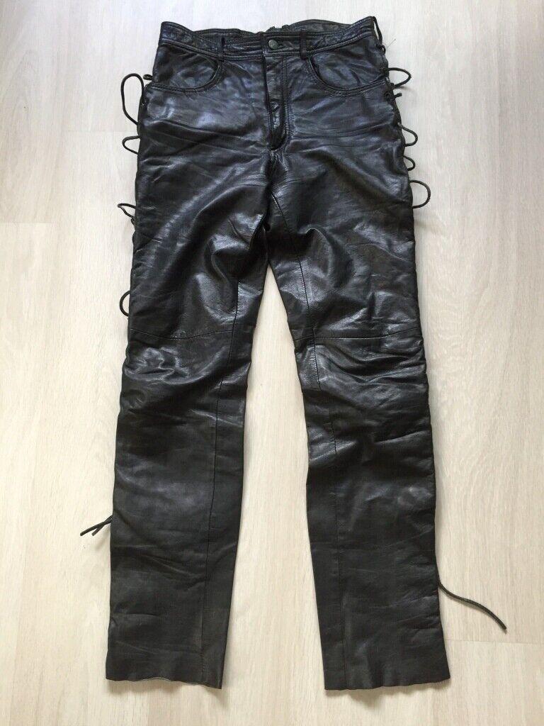 Hose Lederhose Gr.29 schwarz mit seitl. Schnürung Pantera