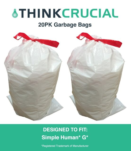 20 Replacements Simple Human G 30l 8 Gallon Durable Garbage Bags