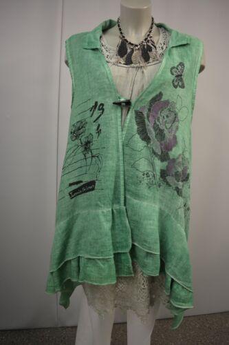 Leinen Zipfel Überwurf Batik Italy Grün Rüschen Jacke In Made Xxl Tunika Sommer AxfwUfCqa
