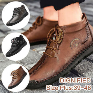 Men-039-s-British-Ankle-Boots-Business-Dress-Leather-Casual-High-Top-Shoes-Sneakers