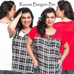 New-Ladies-Red-amp-White-Top-With-A-Tie-Neck-Top-Plus-Size-16-18-20-amp-22-9769-KR