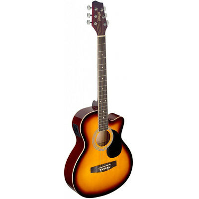 Acoustic Electric Guitars Musical Instruments & Gear Kind-Hearted Stagg Sa20ce Full Size Cutaway Auditorium Style Acoustic Electric Guitar Sunburs