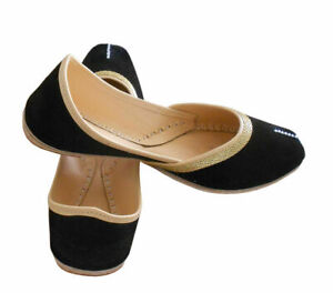 Women-Shoes-Indian-Handmade-Traditional-Mojari-Flat-Jutties-Loafers-UK-7-5-EU-43