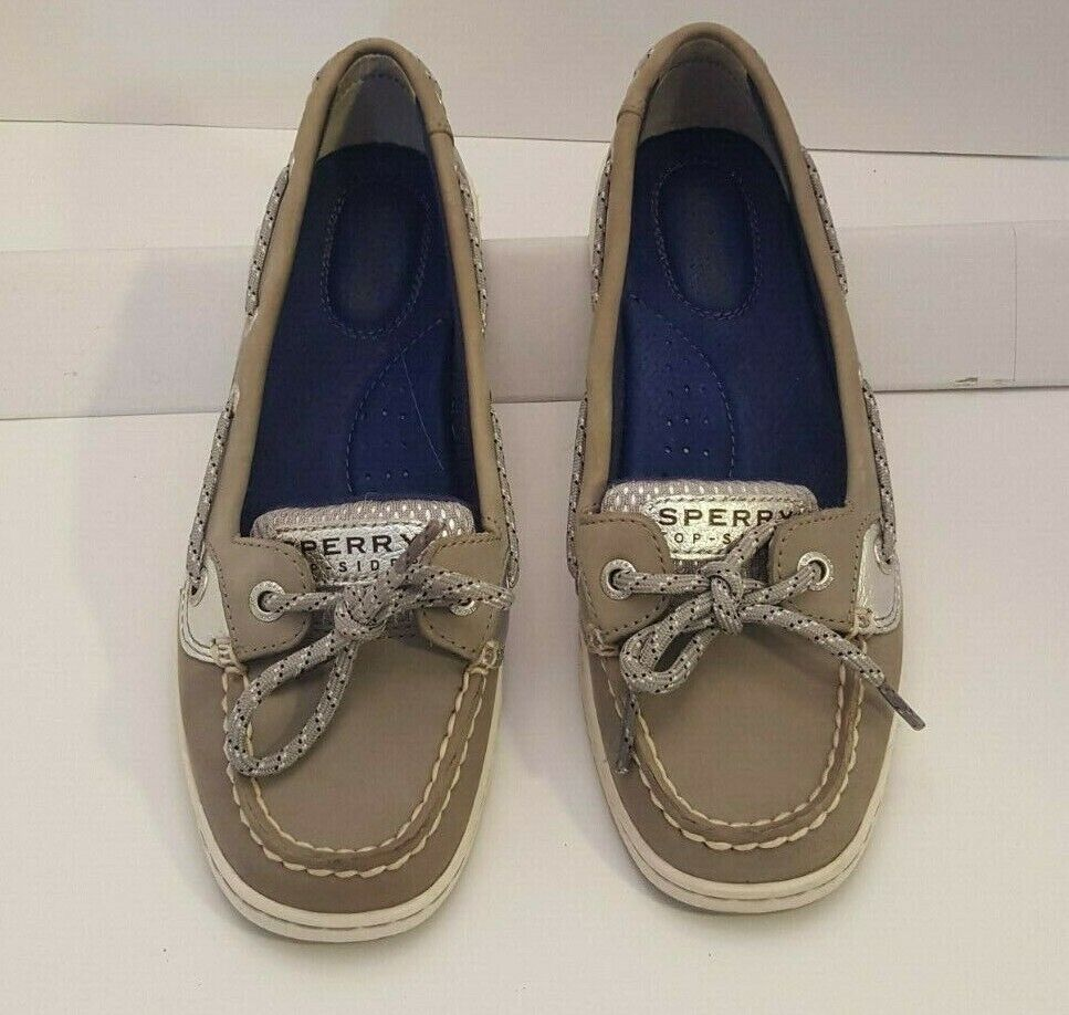 SPERRY TOP-SIDER Woman's size 6 Leather and Fabric Sage/Silver Accents