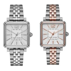 Marc-Jacobs-MJ3461-MJ3463-Women-Watch-Metal-Band-Silver-Rose-Gold-Square-30mm