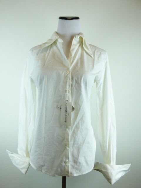 Nuevo con etiquetas ANNE  FONTAINE Francia Marfil blancoo Apagado Camisa azulsa Prenda para el torso 38 S M Europa FC  servicio honesto