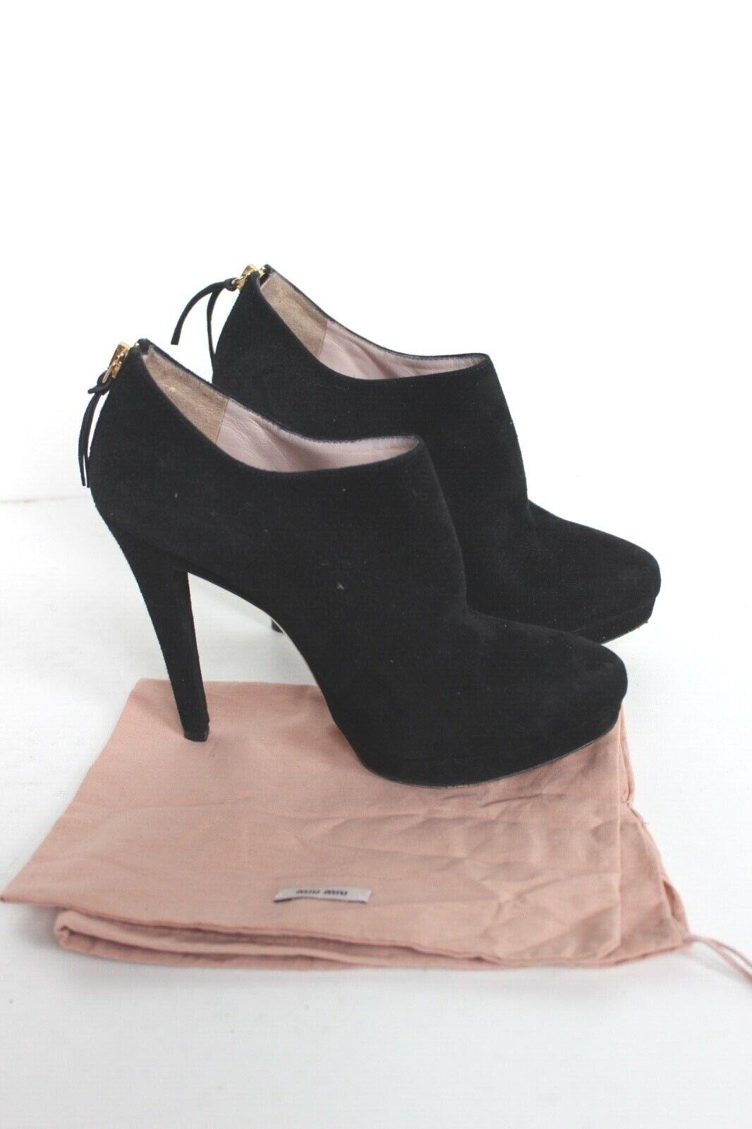 Miu Miu Negro Gamuza Tobillo botas 36.5 Reino Unido 3.5