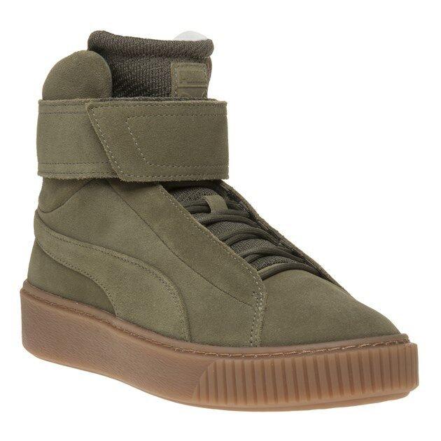 New WOMENS PUMA GREEN KHAKI PLATFORM MID OW SUEDE Sneakers HI TOP SNEAKERS