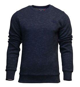 Superdry-Mens-New-Orange-Label-Crew-Neck-Sweatshirt-Pullover-Long-Sleeve-Navy