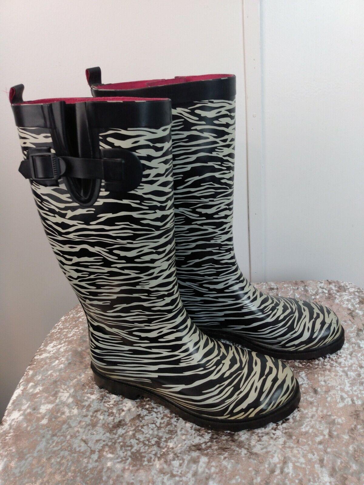 Capelli Zebra Print Rain Boots with Adjustable Ca… - image 2