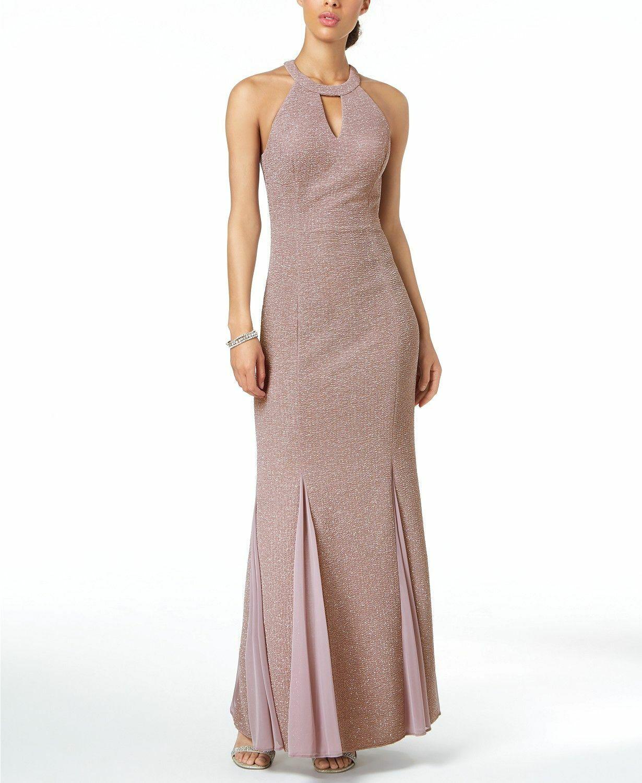 NIGHTWAY damen lila GLITTER KEYHOLE HALTER MERMAID GOWN DRESS Größe 4