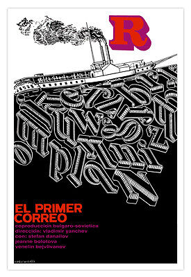 "Cuban decor Graphic Design movie Poster/""THE FIRST Mail Service/""Steam Boat"