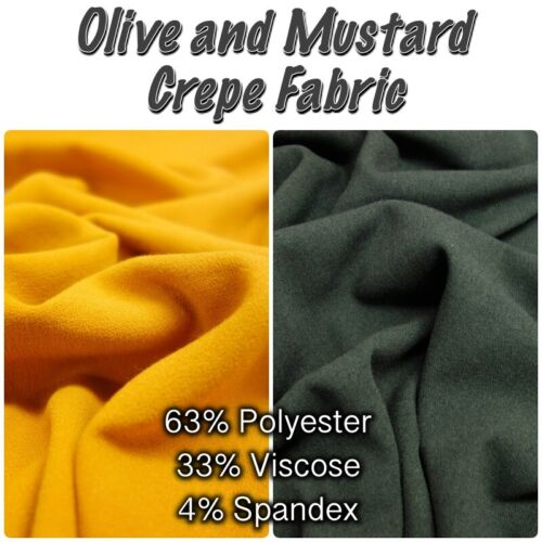 Olive Dressmaking Fabric Polyester Viscose CREPE High Quality Plain Mustard