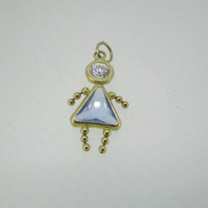 14k Yellow gold March Birthstone Baby Girl Charm Pendant