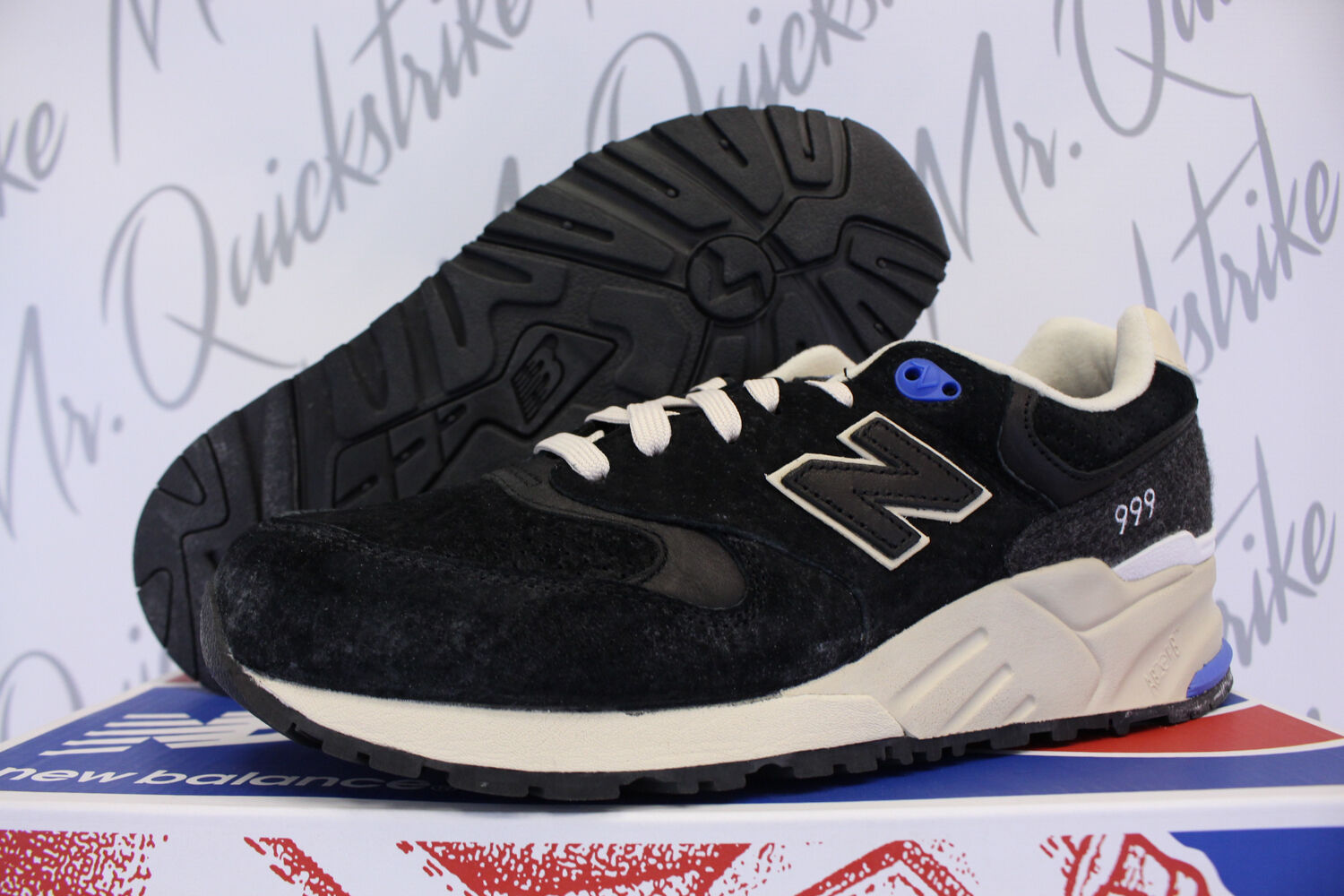 NEW BALANCE 999 WOOLLY MAMMOTH PACK SZ 7 BLACK BEIGE ROYAL ML999MMT