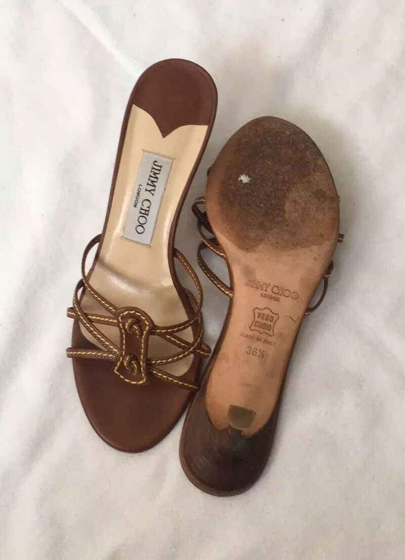 Jimmy Jimmy Jimmy Choo marron Sandals Low Heel 36.5 EU Authentic 84e577