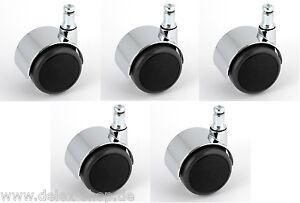 Satz-Hartbodenrolle-Stuhlrolle-Chrom-50-mm-Stift-11-mm-Chromrolle-Rolle-Rad