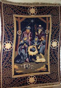 "GoodwIn Weavers Christmas Nativity Scene Afghan Throw Blanket 46x63"" Magi"