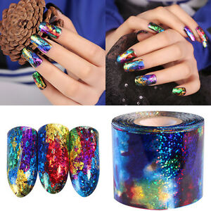 1m Diy Gradient Starry Sky Nail Foil Blue Holographic Paper Nail Art