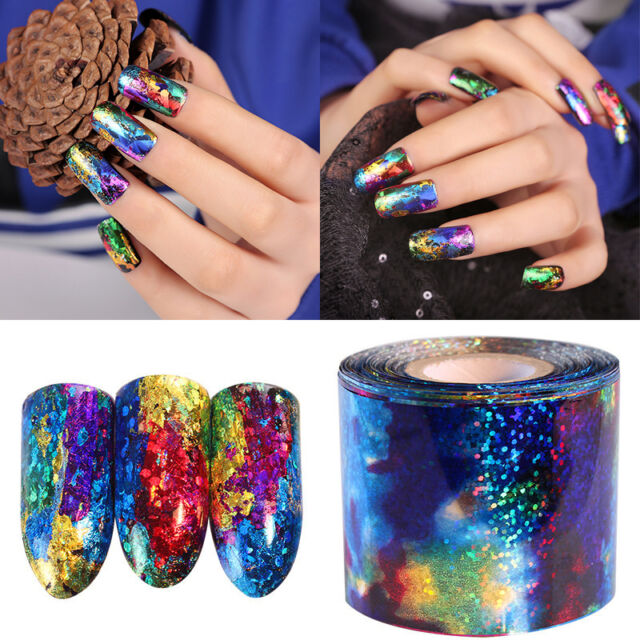 1M DIY Gradient Starry Sky Nail Foil Blue Holographic Paper Nail Art Stickers