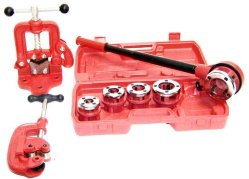 Clamp on Pipe Vise #2 Pipe Cutter # 2 Pipe Threader Ratchet Type with 5 dies