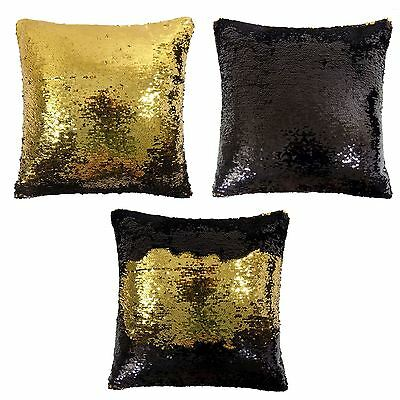 Magic Sequins /& Velvet 2 Colour Reversible Cushion Cover or Filled Cushion 43cm