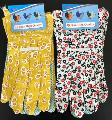 2 Pairs Floral Flower Gardening Garden gloves Anti Slip Dotted Grip Adult Lady