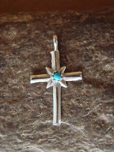 Naktewa Zuni Indian Jewelry Sterling Silver Turquoise Cross Pendant