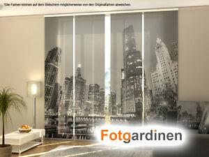 fotogardinen grey city fl chenvorhang schiebegardinen mit motiv auf ma ebay. Black Bedroom Furniture Sets. Home Design Ideas