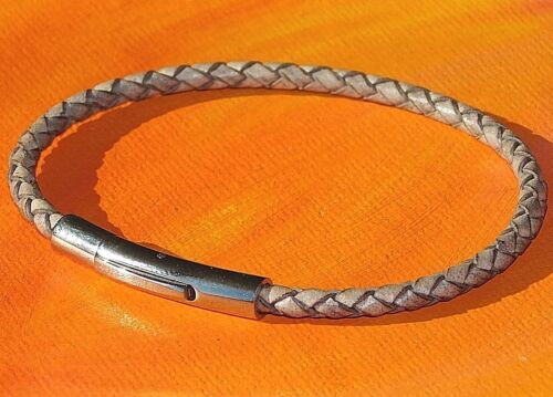 Mens//Ladies 4mm Black braided leather /& sterling silver bracelet by Lyme Bay Art