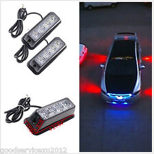One Pair 12V 4-LED 4W Red Car Strobe Signal Light Beacon Emergency Safety Lamps