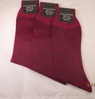 Mens Sheer Dress Socks 3pk 100% Nylon Mid Calf Cranberry Size 10-13 Thin Silky