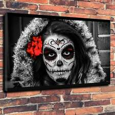 "Halloween Sugar Skull Printed Canvas A1.30""x20""~Deep 30mm Frame"
