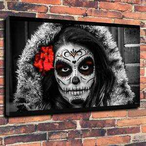 Sugar Skull Printed Box Canvas Picture Day Of The Dead A130x20