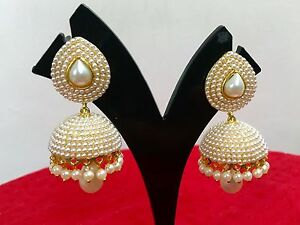 Image Is Loading Bollywood Fashion Gold White Jewelry Indian Pearl Earrings