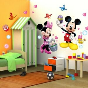 Mickey Mouse Minnie Cartoon Wall Stickers For Kids Baby Rooms Home Decorat NR015