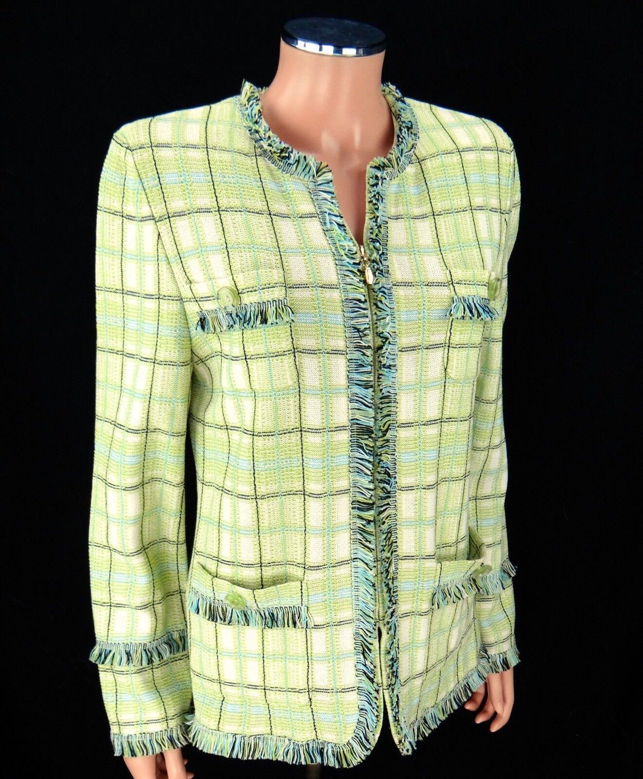 ST JOHN colección flecos Cremallera Chaqueta  Tamaño 10 Peridoto Abrigo a cuadros Santana knits  grandes precios de descuento