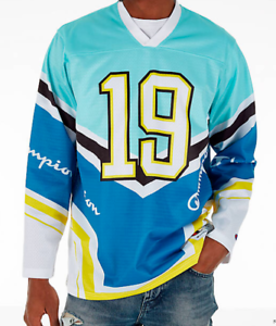 blue and white hockey jersey