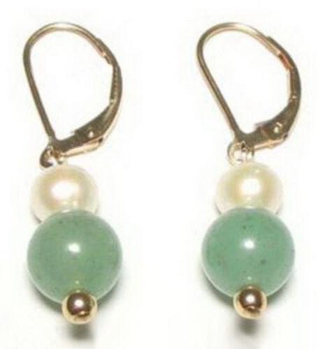 Naturel vert clair jade véritable perle blanche 18KGP Leverback Crochet Femmes Boucles D/'oreilles