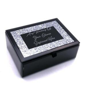 Details About Large Personalised Beautiful Black Glass Glitter Jewellery Box X68105