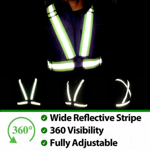 Adjustable Safety Security High Visibility Reflective Vest Night Running CA